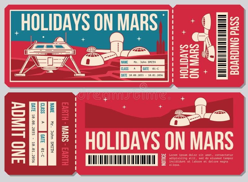 Biljett för vektor för loppkupong Ferie på Mars promohandling royaltyfri illustrationer