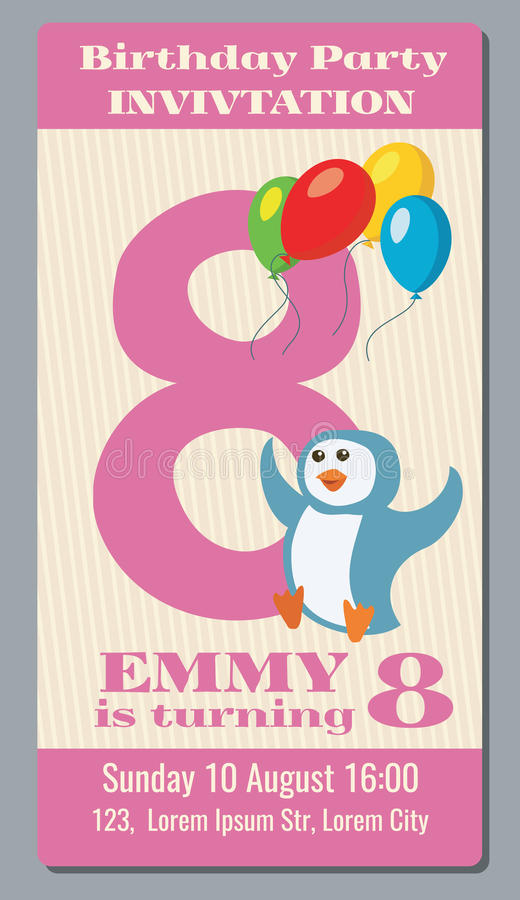 Biljett för vektor för passerande för inbjudan för födelsedagparti med den roliga pingvinet för ungar 8 gamla år vektor illustrationer