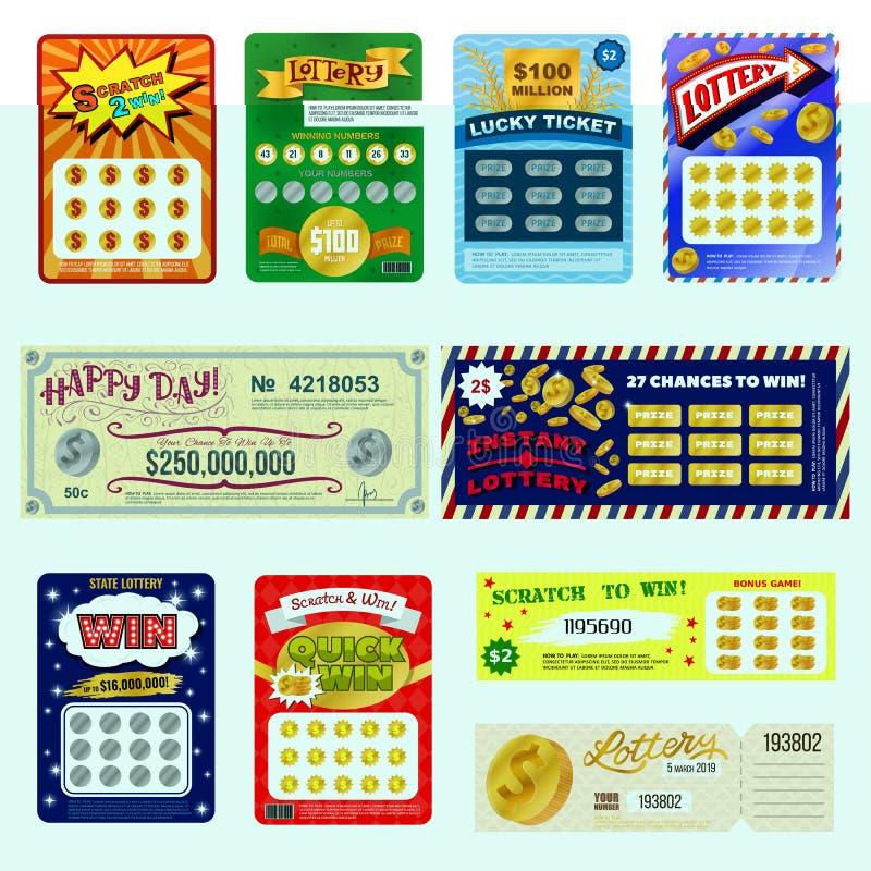 Biljetter för dobbel för lotteri för illustration för uppsättning för jackpott för lek för lotto för möjlighet för seger för kort stock illustrationer