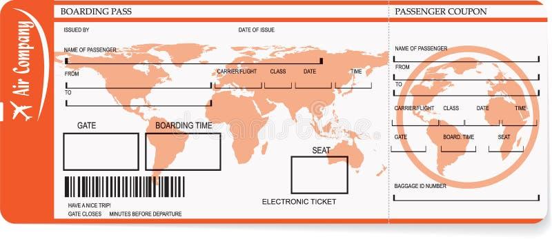 Biljetter för flygbolaglogipasserande med barcoden stock illustrationer