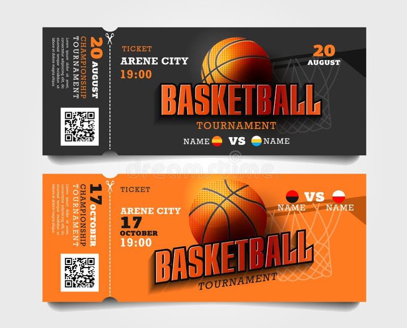 Biljetter för ingång för basketmatch sönderrivna-av med bollen och korg och stor typografi royaltyfri illustrationer