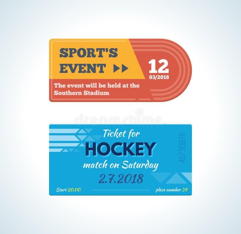 Biljetter för sportsliga händelser: friidrott på stadion- och hockeyleken royaltyfri illustrationer