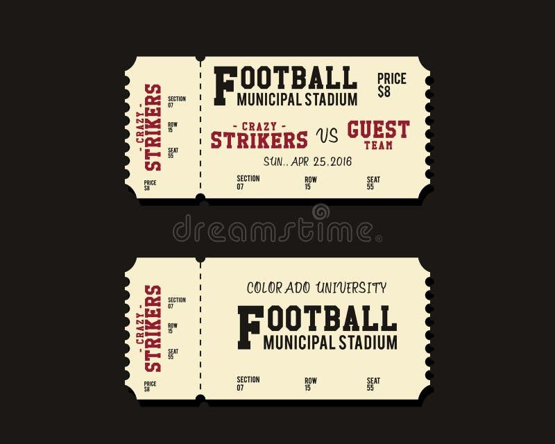 Biljettkort för amerikansk fotboll, rugby- eller fotboll stock illustrationer