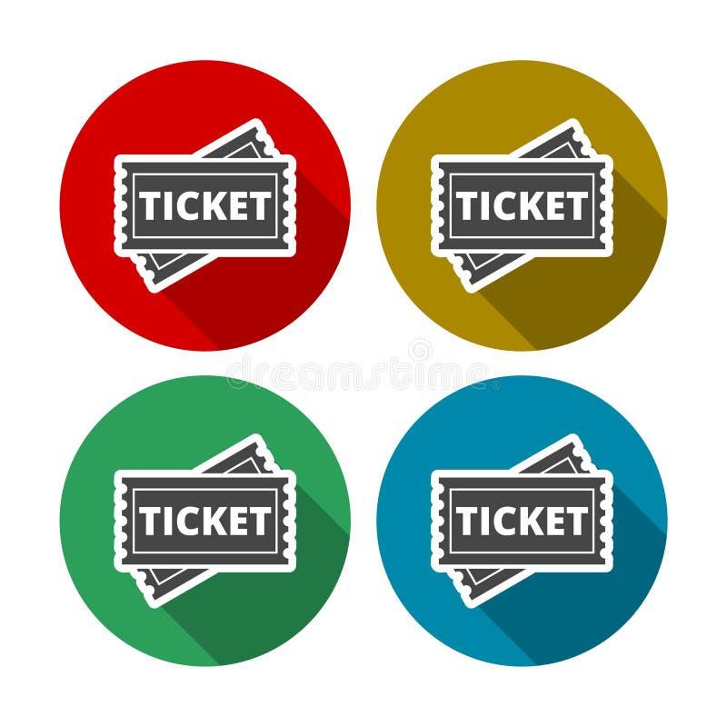 Biljettsymbolsuppsättning med lång skugga royaltyfri illustrationer