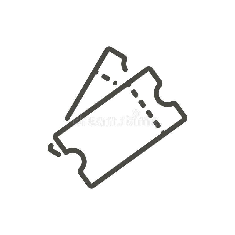 Biljettsymbolsvektor Linje tombolabiljettsymbol royaltyfri illustrationer