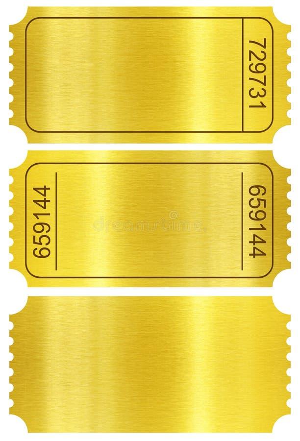 Biljettuppsättning. Guld- biljettstumpar som isoleras på vit royaltyfria bilder