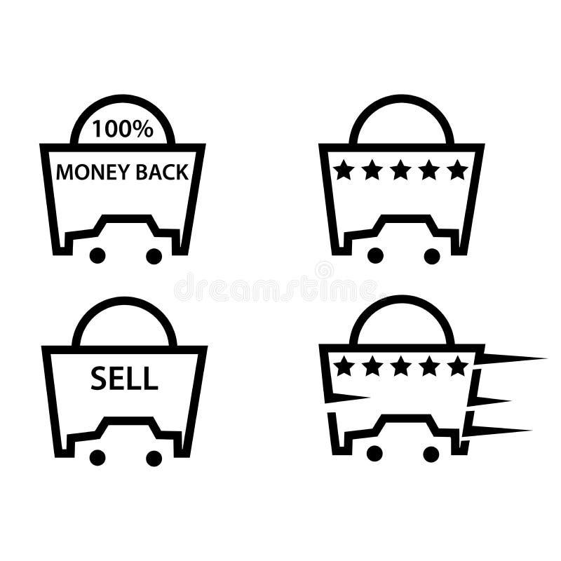 Bilköpande och säljasymboler, plan design royaltyfri illustrationer