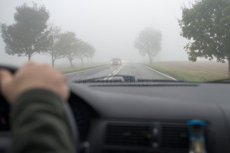 Bilkörning i tjock dimma arkivfoton