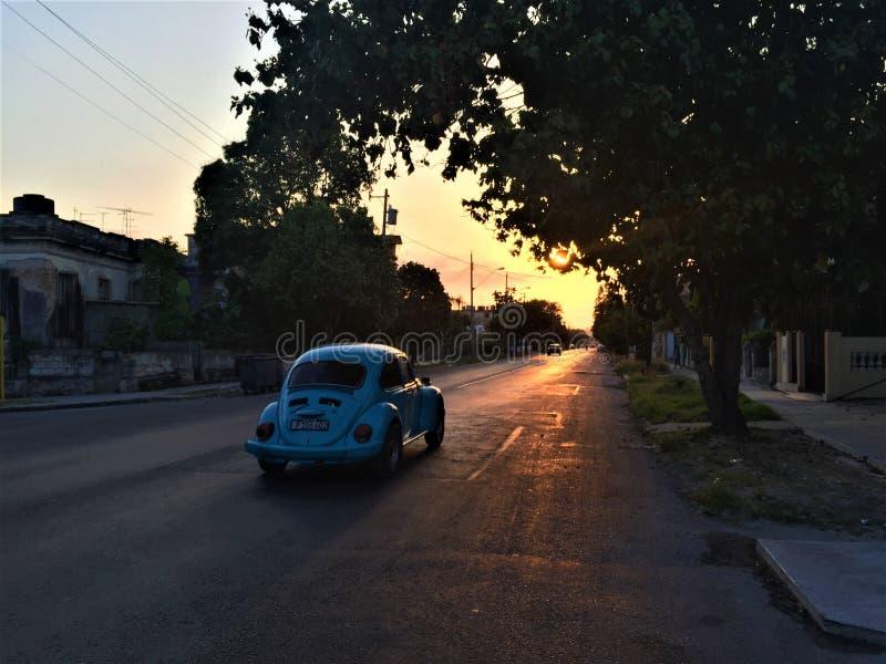 Bilkörning på gatan i Kuba arkivbilder
