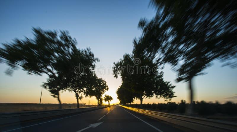 Bilkörning på motorväg på solnedgången med rörelsesuddighet royaltyfri fotografi