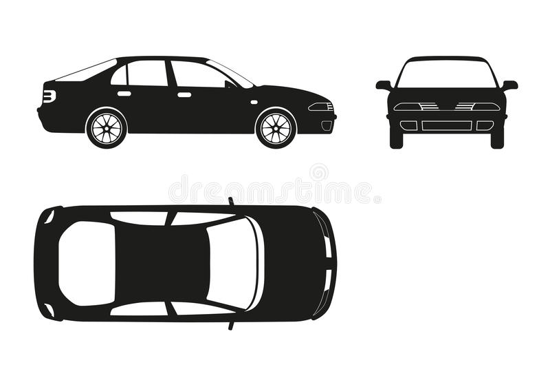 Bilkontur på en vit bakgrund Tre sikter: framdel sida vektor illustrationer