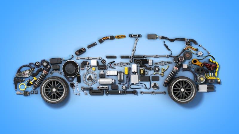 Bilkonturn som göras av detaljer 3d, framför på blått royaltyfri illustrationer