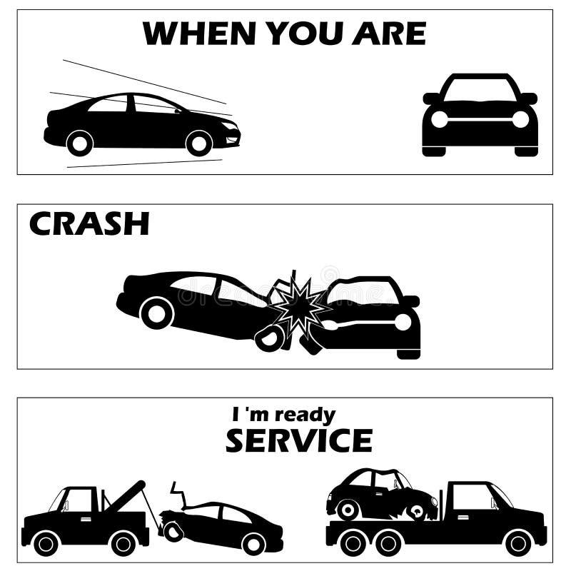 Bilkrasch och olycka vektor illustrationer
