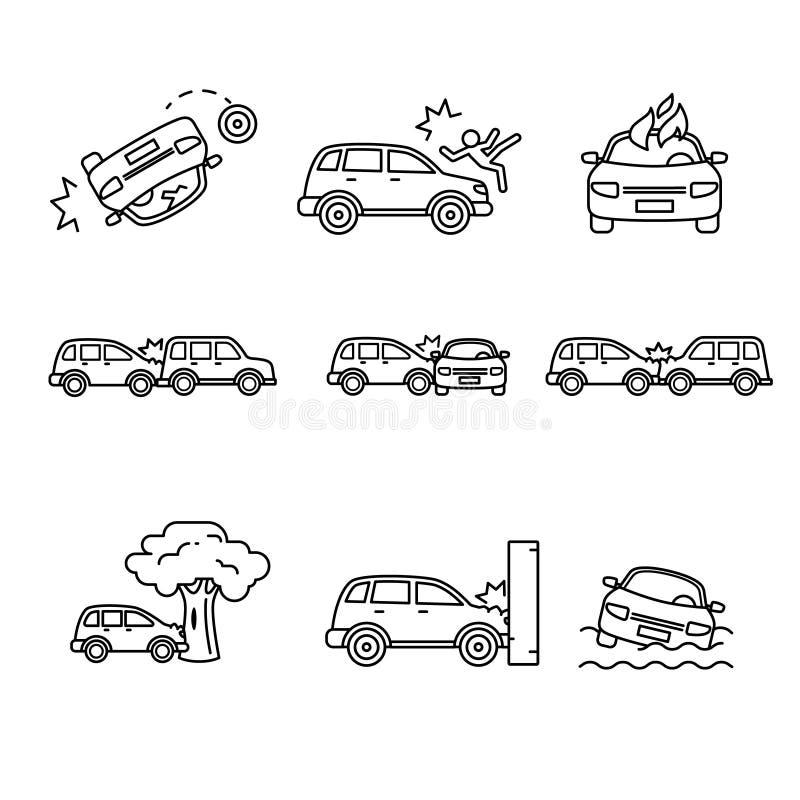 Bilkrasch och olyckor Tunn linje konstsymbolsuppsättning stock illustrationer