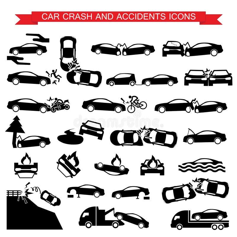 Bilkrasch och olyckssymboler royaltyfri illustrationer