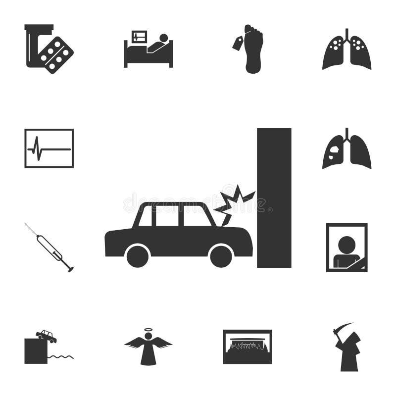Bilkraschen, automatisk kraschar in i väggsymbolen Detaljerad uppsättning av dödsymboler Högvärdig kvalitets- grafisk design En a stock illustrationer