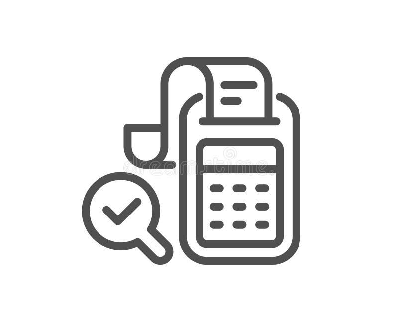 Bill Accounting-lijnpictogram Bedrijfscontroleteken vector illustratie