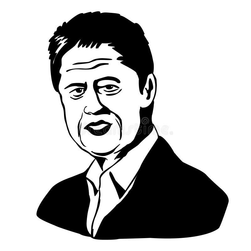 bill Clinton również zwrócić corel ilustracji wektora Czarny i biały rysunek ilustracja wektor