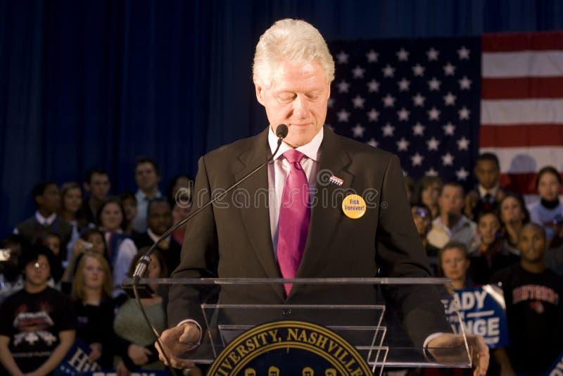 Bill Clinton som ger presidentanförande arkivfoto