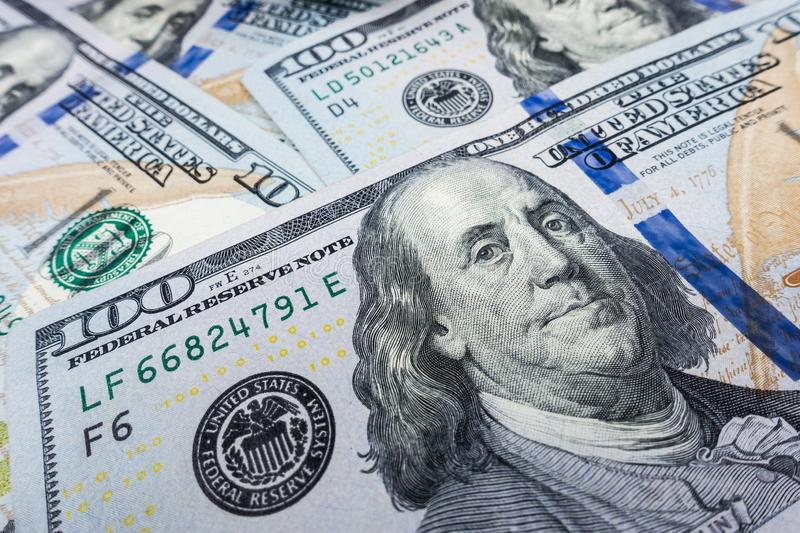 $100 bill  close-up. Wealth and finance concept. stock photo