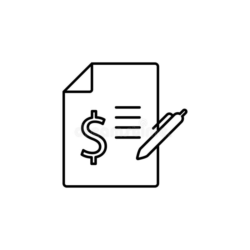 Bill, contract icon. Simple thin line, outline vector of Business management icons for UI and UX, website or mobile stock illustration