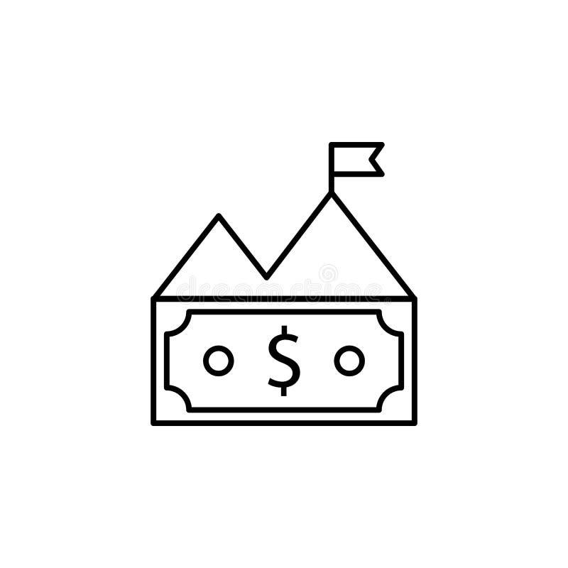 Bill, dinero, montaña, icono del dólar Elemento del ejemplo de las finanzas Las muestras y el icono de los símbolos se pueden uti ilustración del vector