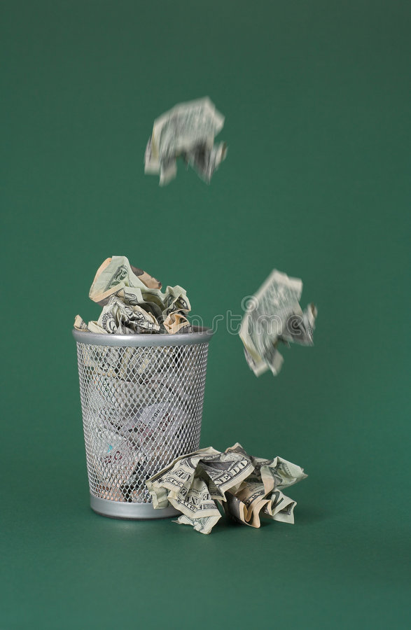 bill dolara pieniądze marnotrawiącego fotografia royalty free