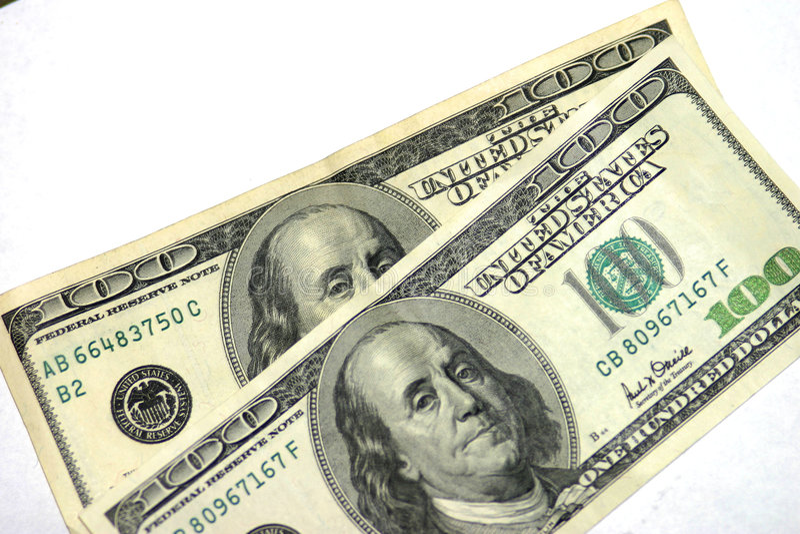 bill dolara sto raz dwa fotografia stock