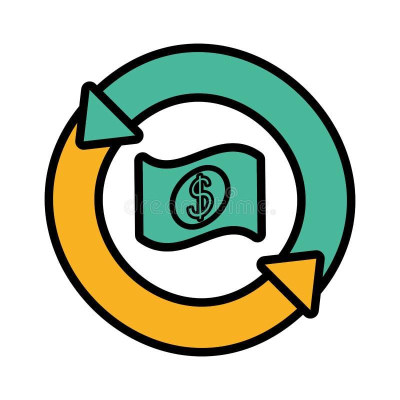 Bill dollar with arrows in circle. Vector illustration design vector illustration