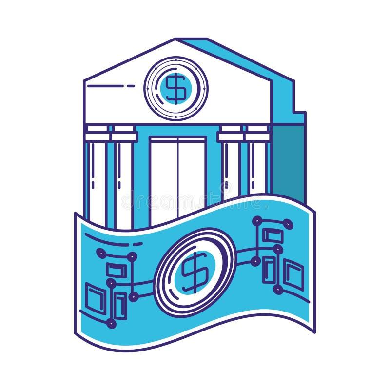 Bill dollar with bank building. Vector illustration design royalty free illustration