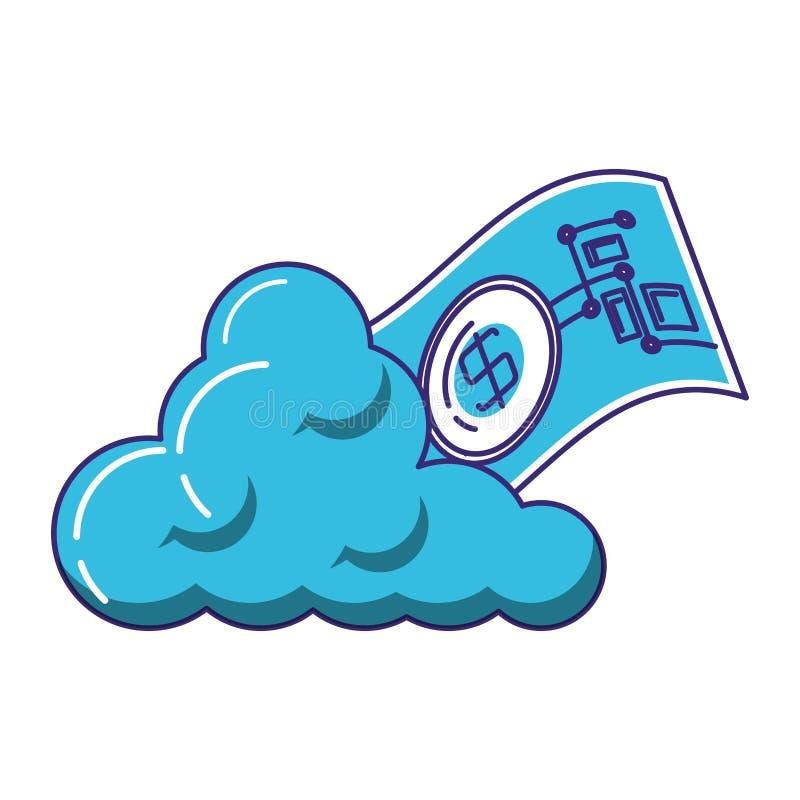 Bill dollar with cloud computing. Vector illustration design vector illustration