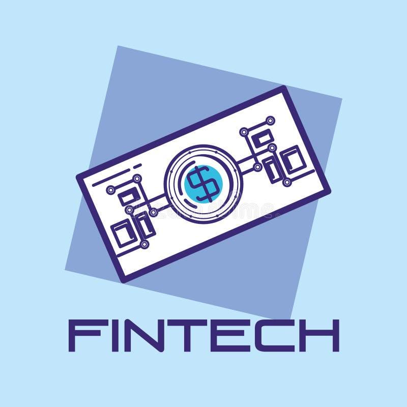 Bill dollar fintech icon. Vector illustration design royalty free illustration