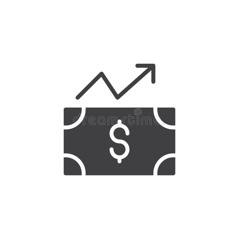 Bill dollar money with arrow up vector icon. Filled flat sign for mobile concept and web design. Increase dollar simple solid icon. Symbol, logo illustration royalty free illustration