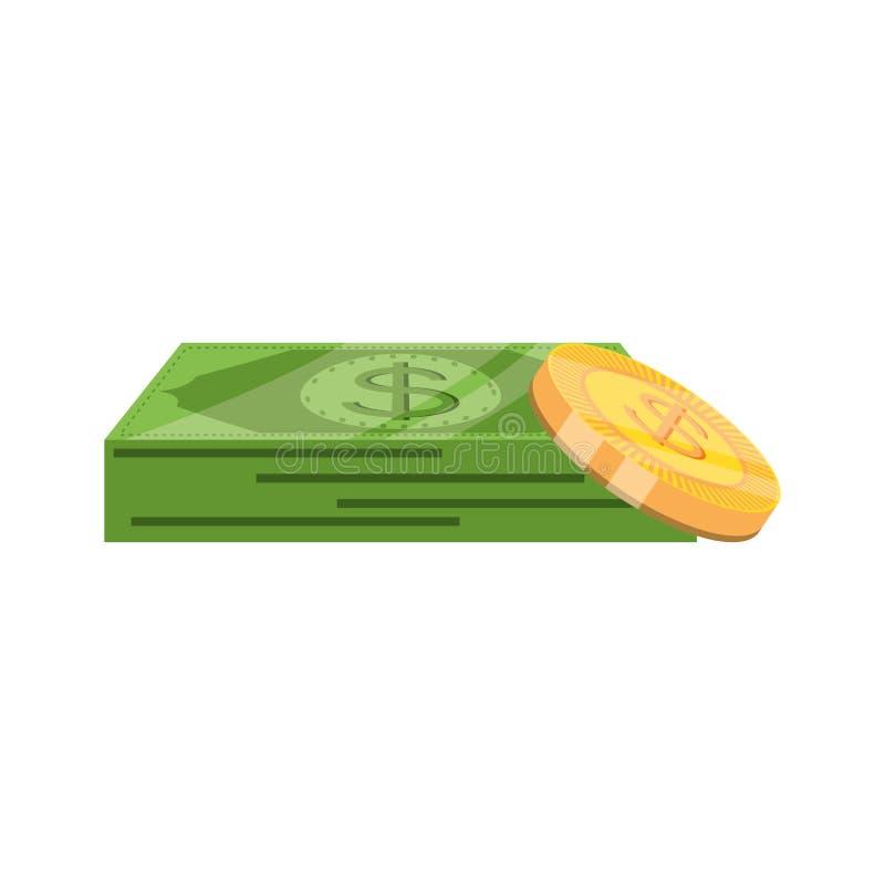 Bill dollar money with coins. Vector illustration design stock illustration