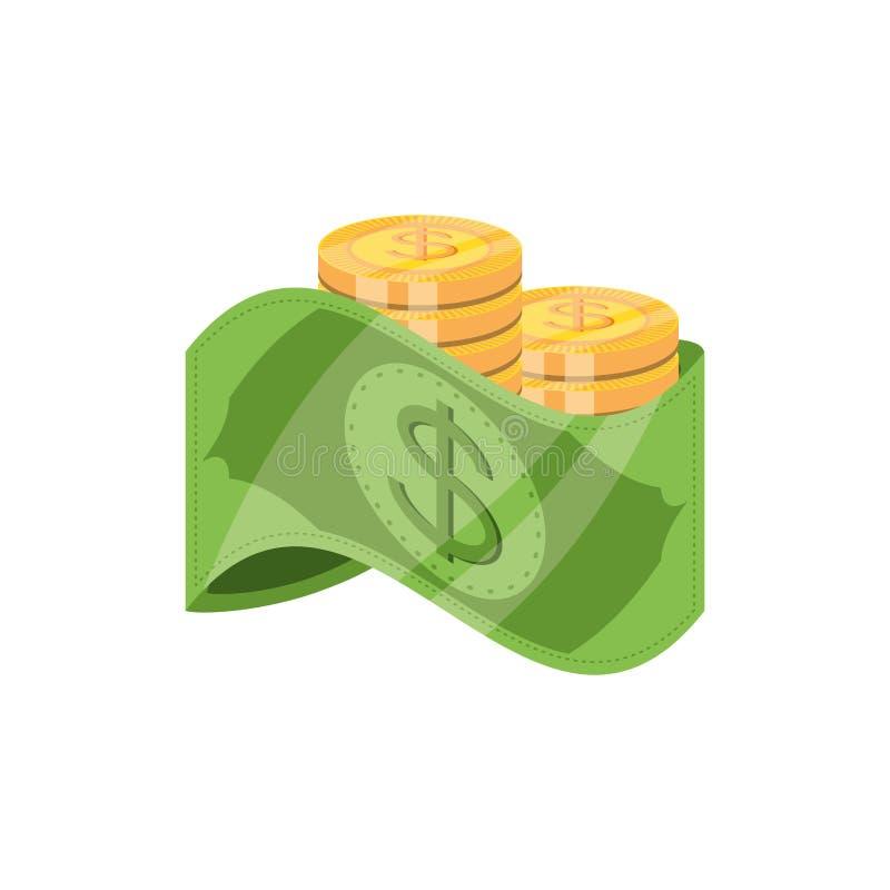 Bill dollar money with coins. Vector illustration design vector illustration