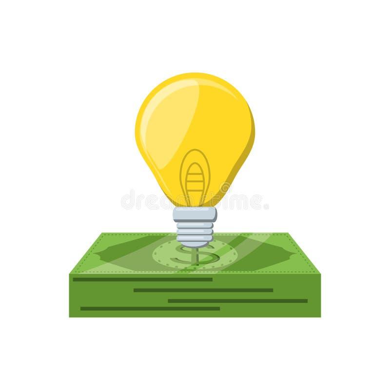 Bill dollar money with light bulb. Vector illustration design stock illustration