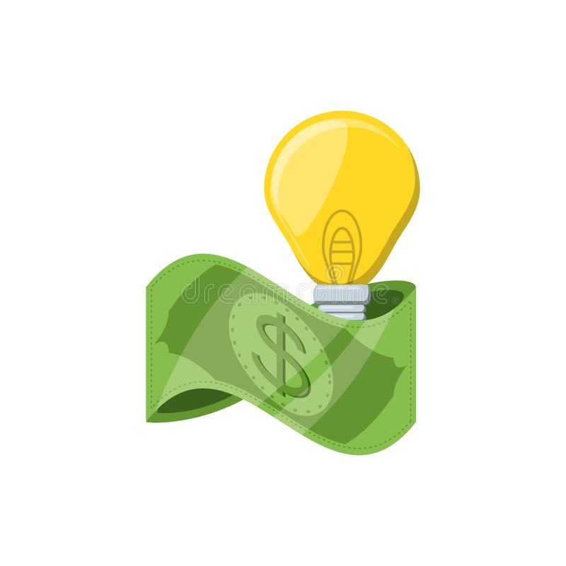 Bill dollar money with light bulb. Vector illustration design royalty free illustration