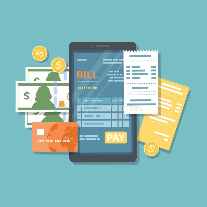 Bill en la pantalla del teléfono con el botón de la paga Pago en línea de mercancías, servicio, utilidad, banco, restaurante vía  libre illustration