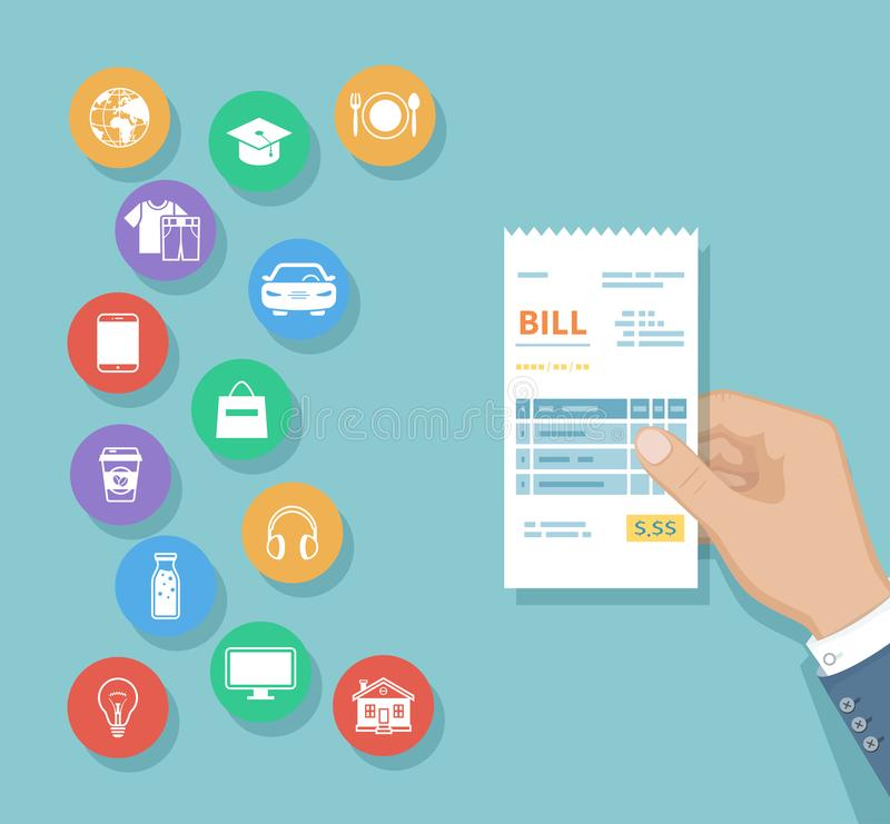 Bill en mano del hombre Sistema de iconos del servicio Compras, orden de la factura del recibo del control Cuentas que pagan Pago ilustración del vector