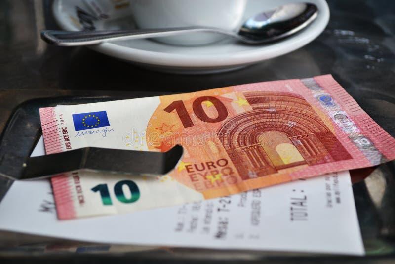 Bill 10 euros Spain stock image