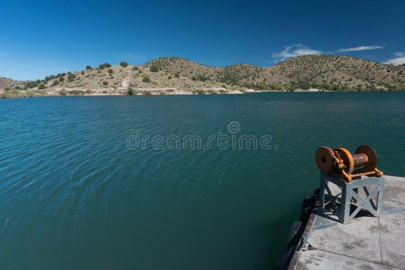 Bill Evans Lake-Dockhandkurbel im New Mexiko stockfotos