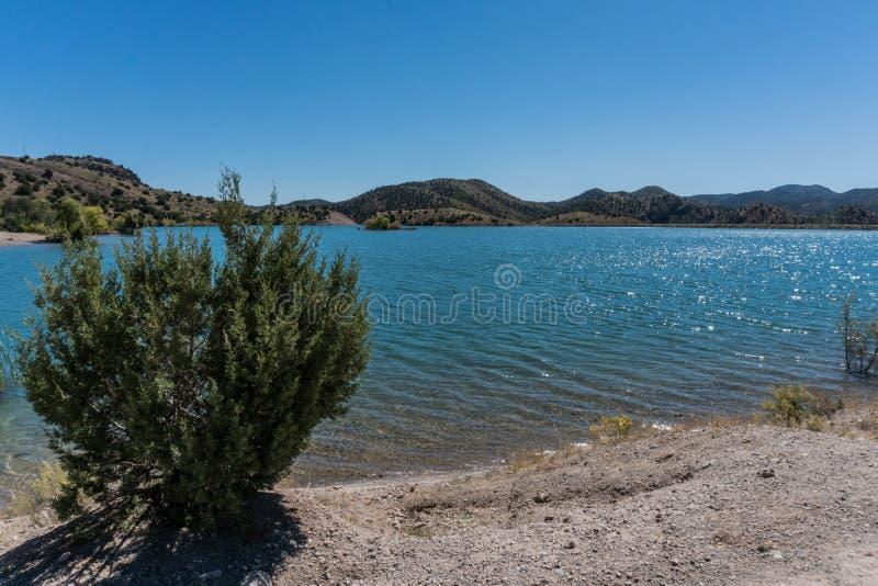 Bill Evans Lake-Küstenlinie im New Mexiko nahe silberner Stadt lizenzfreies stockfoto