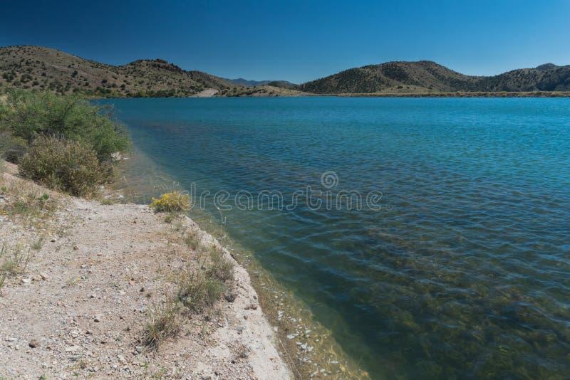 Bill Evans Lake-Ufer im New Mexiko nahe silberner Stadt stockfotos
