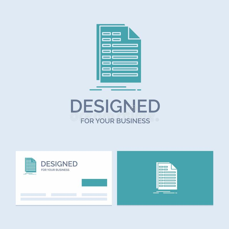 Bill, excel, file, invoice, statement Business Logo Glyph Icon Symbol for your business. Turquoise Business Cards with Brand logo stock illustration