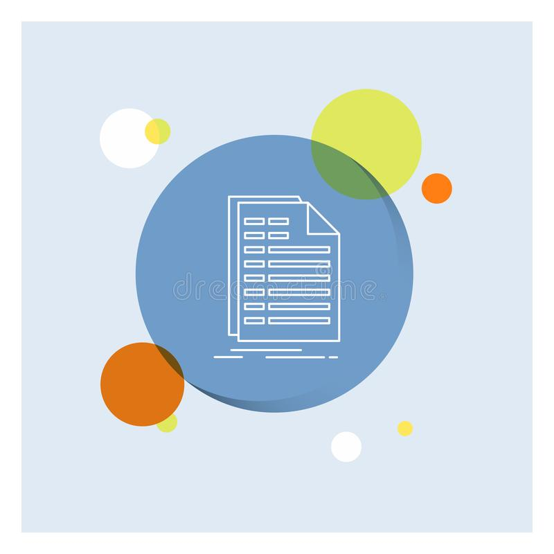 Bill, excel, file, invoice, statement White Line Icon colorful Circle Background vector illustration