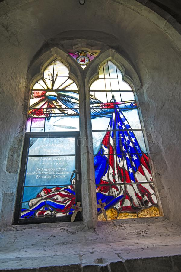 The Bill Fiske Dedication Window in Boxgrove Priory royalty free stock image