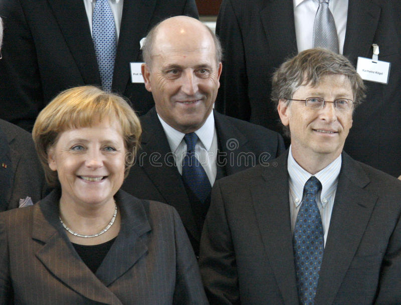 Bill Gates, Angela Merkel stockfotografie