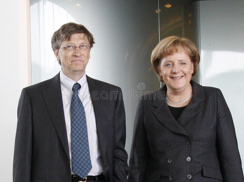 Bill Gates, Angela Merkel stock foto