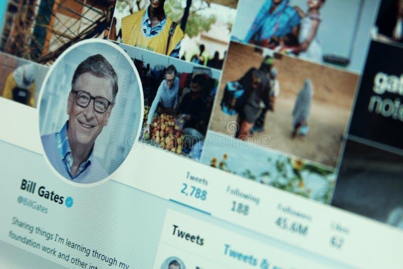 Bill Gates kvittrandekonto royaltyfri bild