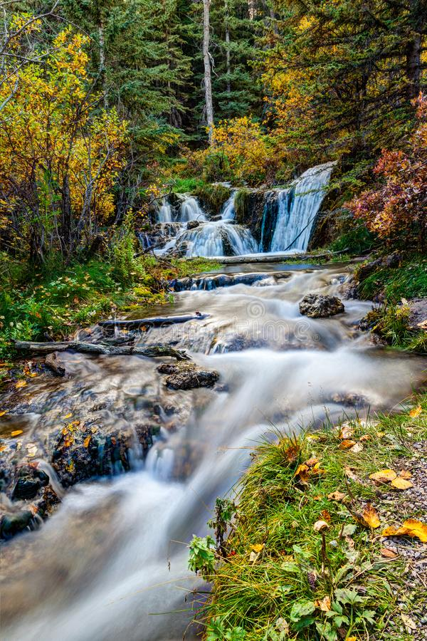 Bill Hill Springs Provincial Park, Alberta, Canada. Cascading stream at Big Hill Springs Provincial Park near Calgary in Alberta. A favorite park for hiking and royalty free stock image